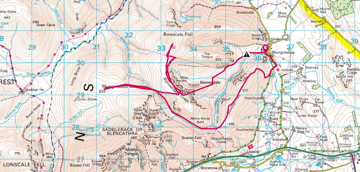 Bannerdale Crags OS Maps Routw
