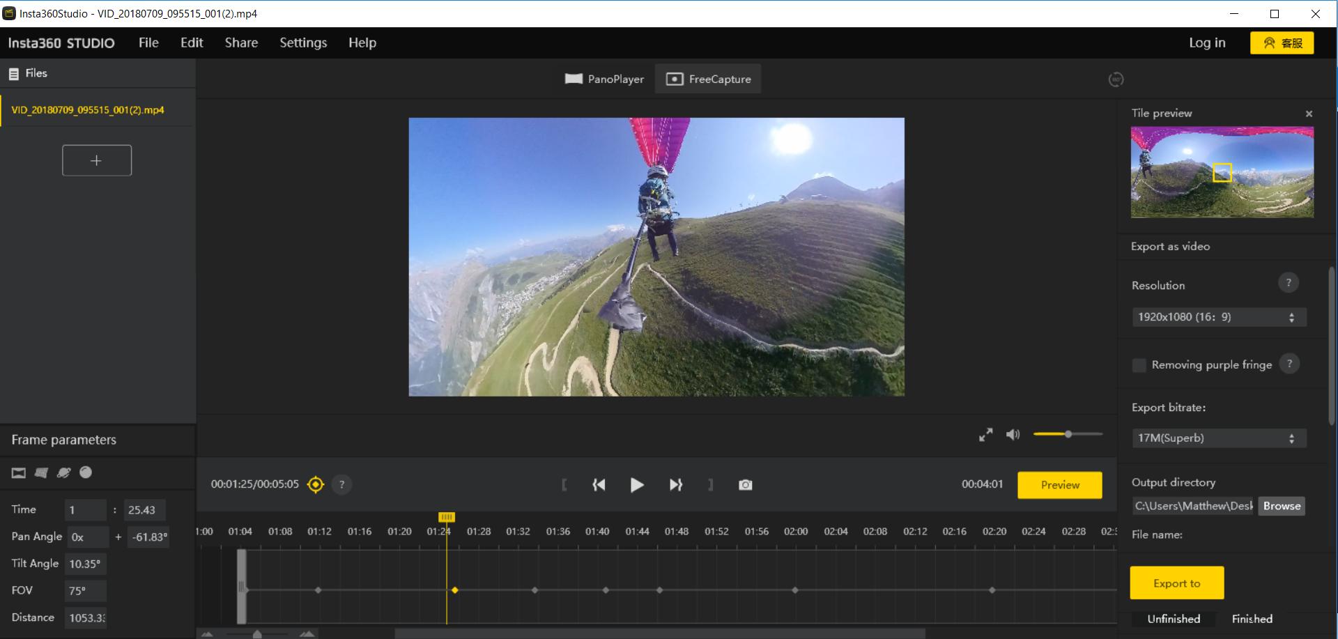 Insta360 Studio Screenshot
