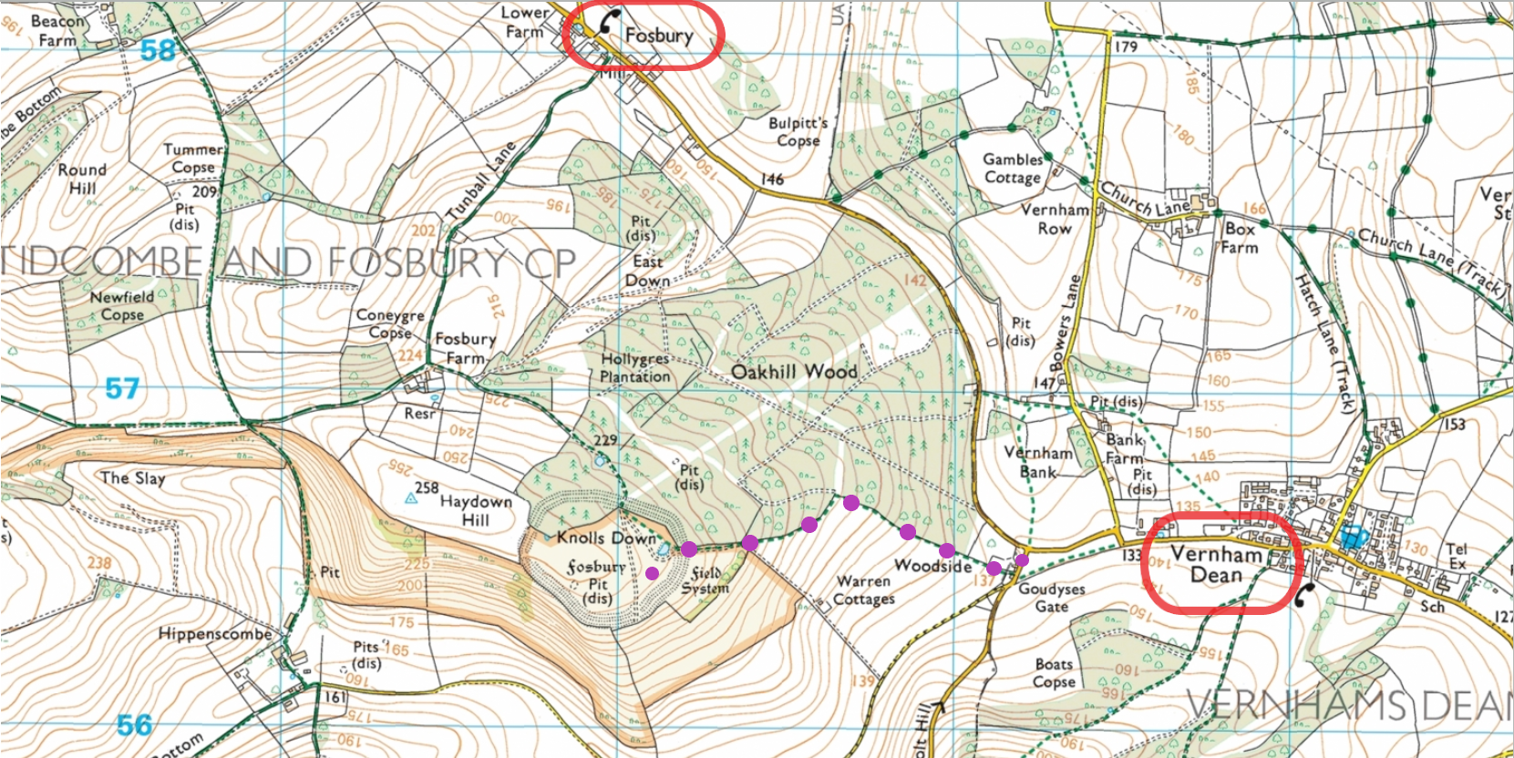 Ordnance Survey map of Fosbury Fort route